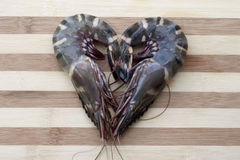 Love shaped fresh prawn Stock Images