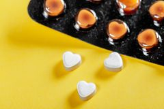 Love shaped pills healthcare stock image