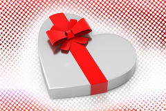 Love shaped Silver gift In Halftone Background Stock Image