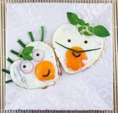 Love shaped two fried eggs Stock Image