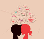 Love is share the same thoughts and valentines Stock Image