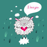 In love with a sheep Royalty Free Stock Photo