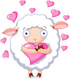 In love sheep. Illustration of very cute sheep holds a heart Royalty Free Stock Images