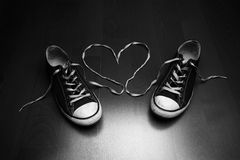 Love of Shoes. Black and White stock images