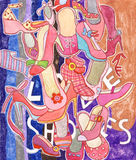 Love Shoes. Illustration created with colored pencils featuring lots of different women shoes and the writing love shoes among them Stock Images