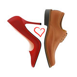 Love between shoes Royalty Free Stock Photos