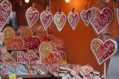 Love shop. Small shop selling gingerbread hearts - czech lettering saying To My Darling, I love you Royalty Free Stock Image