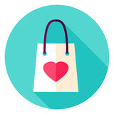 Love Shopping Bag Circle Icon Stock Images