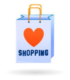 Love shopping bag isolated. Illustrated shopping bag with heart symbol and text Royalty Free Stock Photography
