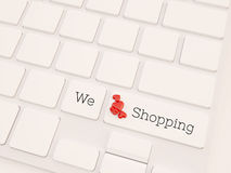 We love shopping concept, 3d render stock images