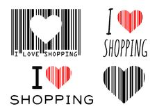 Love shopping. I love shopping illustrations with a heart silhouette in a commercial bar-code Royalty Free Stock Photography