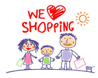 We love shopping illustration with family. Stock Photography