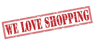 We love shopping red stamp Royalty Free Stock Photos