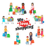 We Love Shopping Set of People with Purchases. Stock Images