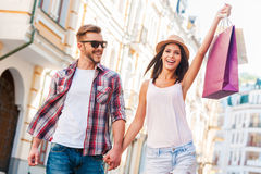 We love shopping together! Stock Image
