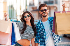 They love shopping together. Royalty Free Stock Photos