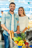 We love shopping together. Stock Photography