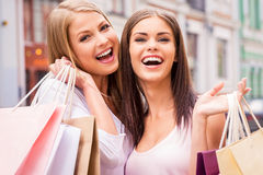 We love shopping together. Royalty Free Stock Image