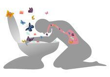 Love sick. To many butterflies in stomach can make a person sick vector illustration