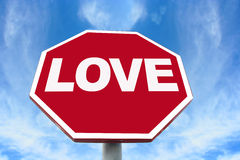 Love sign. On an octagonal stop sign background Royalty Free Stock Photos