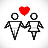 Love sign. Male and female couple in love Royalty Free Stock Photos