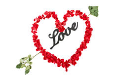 Love Sign Arrow and Rose Heart Royalty Free Stock Photography