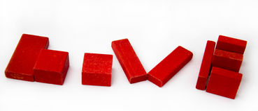 Love sign with blocks isolated beautiful banner wallpaper design. Illustration stock photos