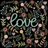 Love sign card on black drop. Colorful nature hand. Drawn pastel color ellements Royalty Free Stock Photo