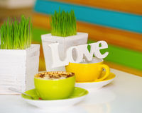 Love sign and coffee cups Royalty Free Stock Image