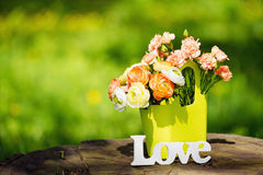 Love sign and flowers outdoors Royalty Free Stock Photography