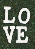 Love sign in grass Stock Image