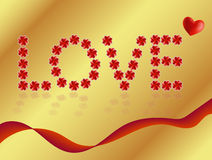 Love sign made from four-leaf clovers with reflection on golden background. And heart above Royalty Free Stock Photo