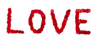 LOVE sign made of rose petals on white Royalty Free Stock Images