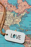 A love sign on a map royalty free stock photography