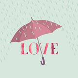 Love sign over rain under umbrella protection. Love icon isolate Stock Photography
