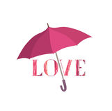 Love sign over umbrella protection. Love icon isolated over whit Stock Photos