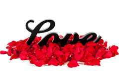 Love Sign with Rose Petals Royalty Free Stock Images