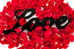 Love Sign with Rose Petals Stock Image