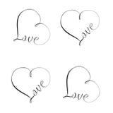 Love Sign Set. Unique calligraphic vector tattoo love design Stock Photo