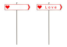 Love sign. Love. Signpost on a white background. Raster Royalty Free Stock Photos