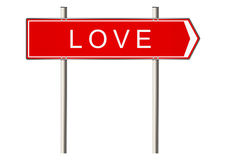 Love sign. Love. Signpost on a white background. Raster Royalty Free Stock Image