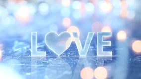 Love sign text and glow lights Stock Image
