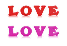 Love sign toy made out of alphabet with clipping path Stock Images