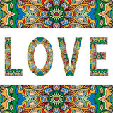 Love sign with tribal ethnic ornament. Decorative arabic frame border pattern. Vector background or card design Stock Photos