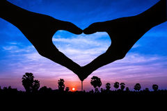 Love sign on twilight time Stock Photo