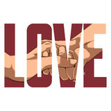 Love sign. Vector Love poster with double exposure effect Stock Photo