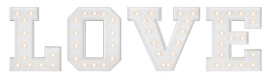 Love sign on white background. Big illuminating love letters isolated on white background Stock Photos