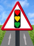 Love signal. On one way road Royalty Free Illustration