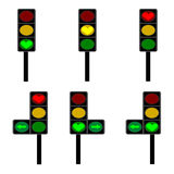 Love, Signal light red, yellow and green lamps Stock Image