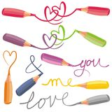 Love signs with colorful crayons Royalty Free Stock Image